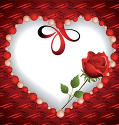 Heart from beads with a rose inside vector image