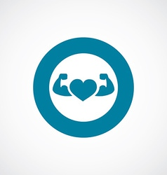 heart with muscle arms icon bold blue circle vector image