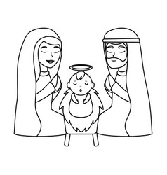 holy family christmas characters vector image