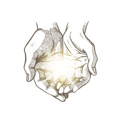 hope concept hand drawn open palms with luminous vector image