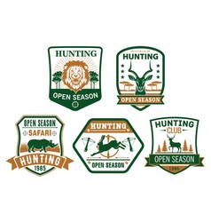 Hunting club hunt open season icons badges vector