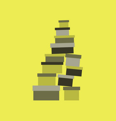 Icon in flat design mountain of boxes vector