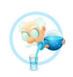 Icon with cartoon whiskered scientist vector