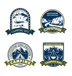 Icons for camping site outdoor adventure vector