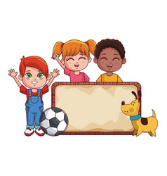 kids with sign cartoons vector image