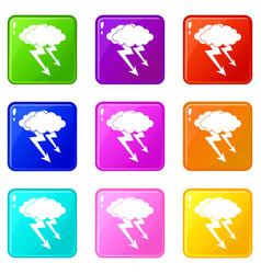 Lightning cloud icons 9 set vector