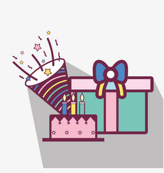 Line cake with gifts and cap birthday celebration vector