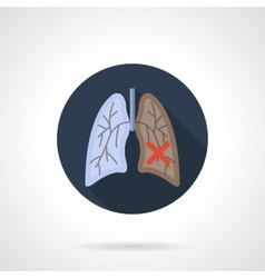 Lung cancer flat color round icon vector image