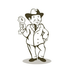Man in business suit and hat with money vector image