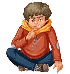 Man in orange sweat hood vector