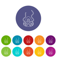 Mask protection icons set color vector
