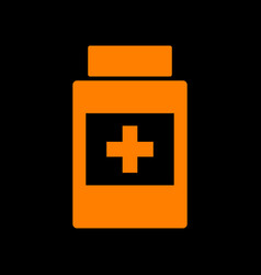 medical container sign orange icon on black vector image