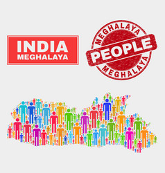 Meghalaya state map population people and corroded vector