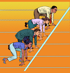 Men and women different races competing in vector