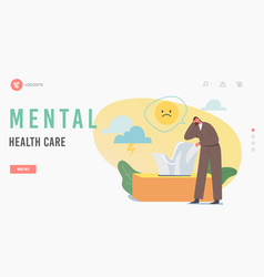 Mental health care landing page template anxious vector