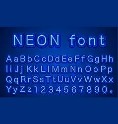 neon city color blue font english alphabet sign vector image