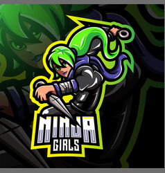 Ninja girls esport mascot logo design vector
