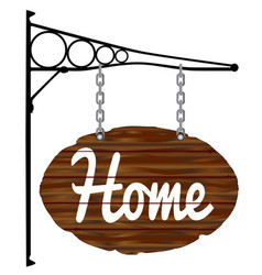 oval home sign and bracket vector image