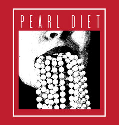 Pearl diet hand drawn of mouth with bead made in vector