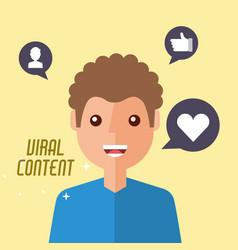 Portrait man viral content internet vector