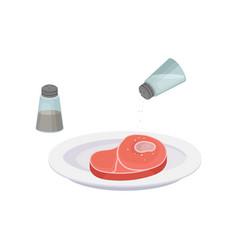 Raw steak salt and pepper vector