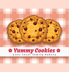 Retro choco chip cookie poster vector