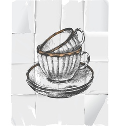 retro tea cups vector image
