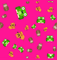 seamless pattern of owl and cat frog vector image