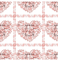 Seamless pattern with heart and lettering vector