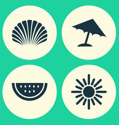 Season icons set collection of parasol sunny vector