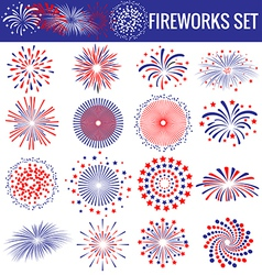 Set of beautiful Fireworks for Independence Day vector image