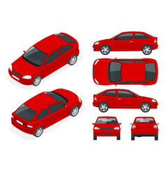 set of sedan cars isolated car template for car vector image