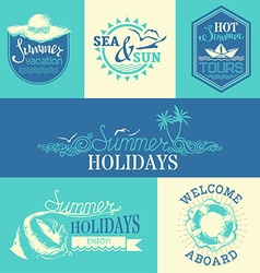 set of summer labels and emblems vector image