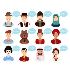 Set - portraits cartoon avatars people of vector
