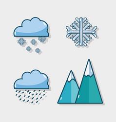 set winter natural weather season vector image