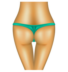 Sexy bum of woman in turquoise bikini vector
