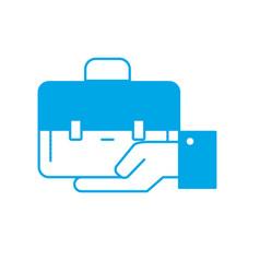 silhouette businessman with briefcase portfolio in vector image
