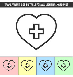 simple outline transparent heart with cross vector image