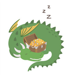 sleeping dragon cute cartoon dragon guarding vector image