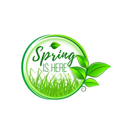 spring is here green leaf and grass icon vector image