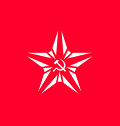 star with socialist symbol - hammer and vector image