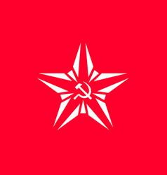 Star with socialist symbol - hammer vector