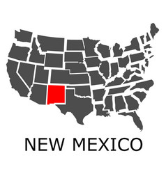 State new mexico on map usa vector