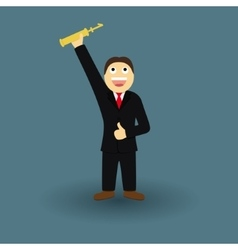 Successful Businessman with a Winner Cup vector