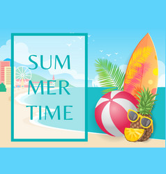 summer beach coastline with shore and building vector image