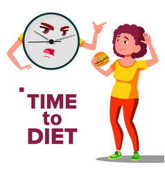 time to diet concept wall clock screaming at girl vector image