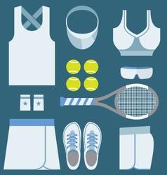 Top View Tennis Women Gears vector
