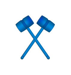 Two crossed wooden mallets in blue design vector