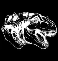 Tyrannosaurus rex skull fossil silhouette in black vector