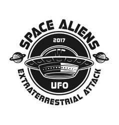 ufo vintage emblem with text space aliens vector image